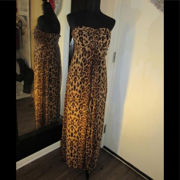 Maxi sleeve-less Leopard Print Plus Size Dress